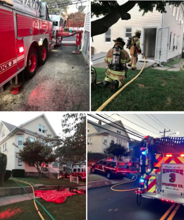 Stamford Fire Department worked to extinguish a kitchen blaze at 64 Schuyler Avenue on Tuesday, Sept. 17.