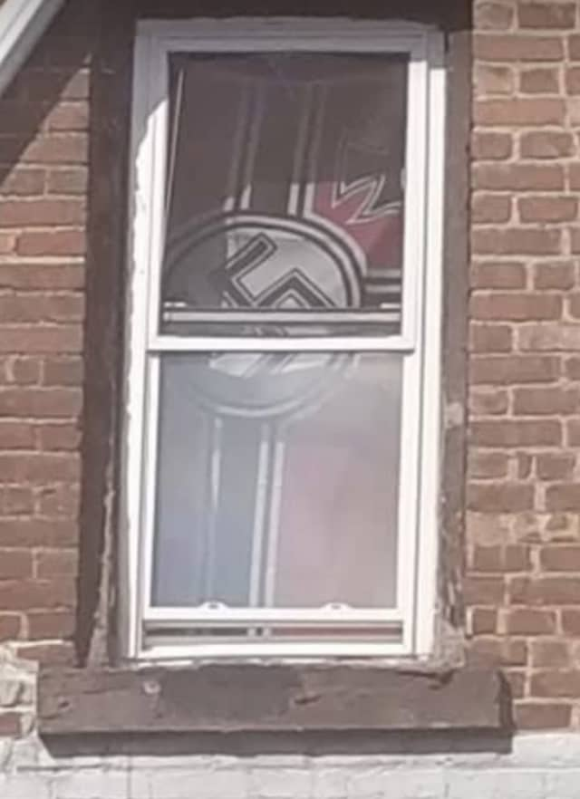 The Nazi flag that was hanging in a Poughkeepsie window.
