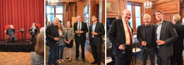 Photo 1: Richard North Patterson and Bret Stephens; Photo 2: Richard North Patterson, Nancy Clair, Tracy Muirhead, Bret Stephens, Stephan Feldgoise; Photo 3: Manhattanville President Michael Geisler, Richard North Patterson and Stephan Feldgoise
