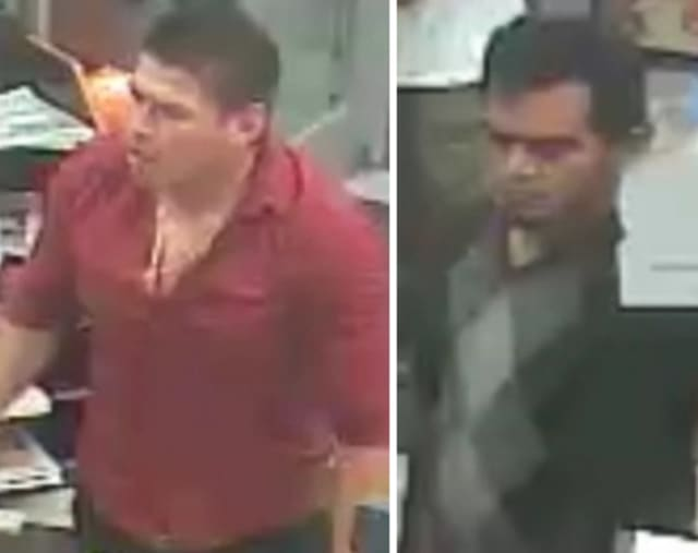 Police are on the lookout for two men suspected of knocking items off the counter at Sunoco in Hauppauge (360 Wheeler Road) on Saturday, Aug. 31 around 8:30 p.m.