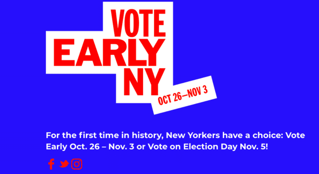 "Polls open at noon on Saturday, Oct. 26, thanks to a new ""early voting"" law in New York state."