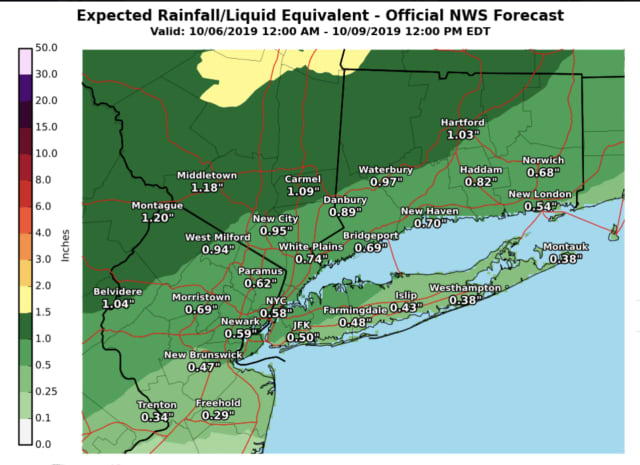 A look at projected rainfall totals through noontime Wednesday, Oct. 9.
