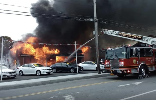 A three-alarm fire destroyed Port Jervis' oldest car dealership