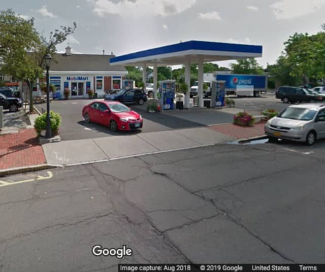 The Mobil station on South Avenue in New Canaan.