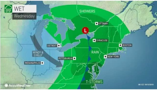 A steady round of rain will arrive Wednesday afternoon, Oct. 16.