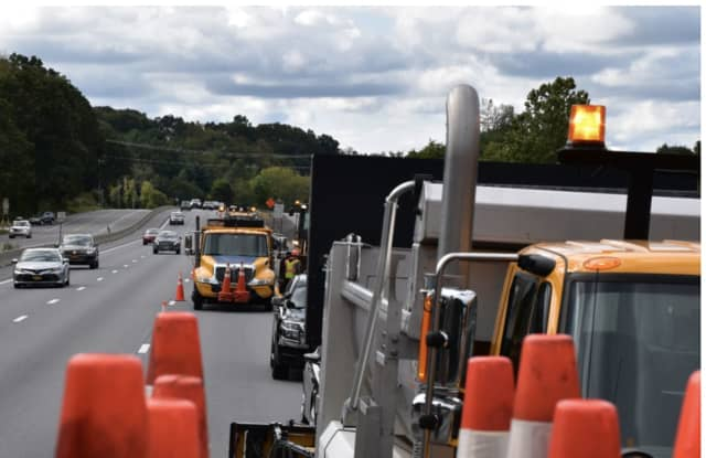 The active construction zone with a posted speed limit of 55 miles an hour on Interstate 684 in Bedford.