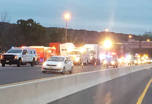The right three lanes and exit ramp was closed Tuesday morning following the Route 80 crash.