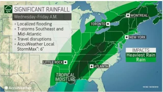 The heaviest rain is now expected later in the evening on Halloween Thursday, Oct. 31 and overnight into Friday, Nov. 1.