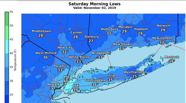A look at projected overnight low temperatures for throughout the area.
