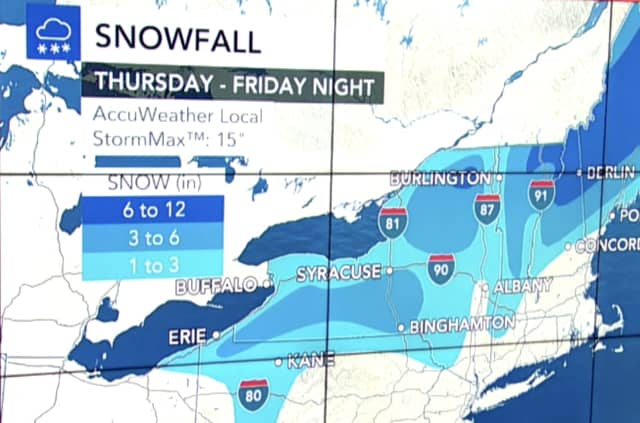 Some areas farthest north in New England could see up to a foot of snow. Parts of upstate New York could get up to half a foot.