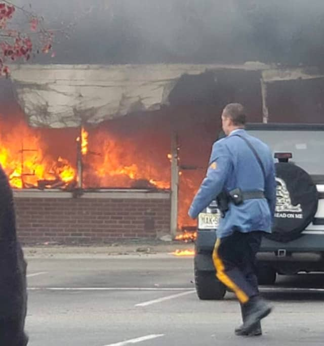 Firefighters battled a four-alarm blaze at Acme Plaza on Route 23 Sunday.