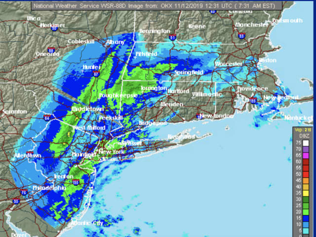 A radar image from Tuesday morning, Nov. 12.