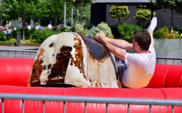 A Bergenfield man is seeking $5 million from the borough after sustaining some permanent injuries while riding a mechanical bull at the 2017 Family Fun Day.