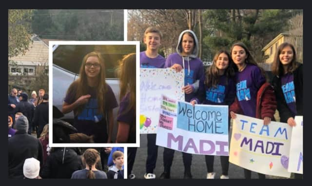 Madi Kinney of Lebanon was surprised by dozens of community members with a homecoming after a two-month stint in the hospital.