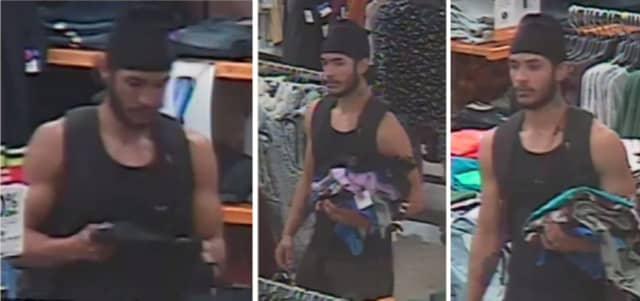 Police are on the lookout for a man suspected of stealing female clothing from J.C. Penney in Bay Shore (1701 Sunrise Highway) on Thursday, Oct. 24 around 2:30 p.m.