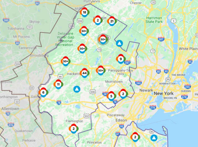 Monday's storm left thousands without power in Sussex and Warren counties.