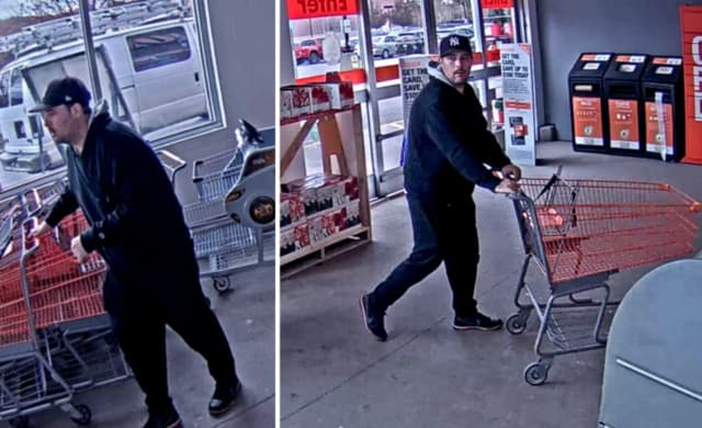 Police are on the lookout for a man accused of stealing approximately $1,400 worth of DEWALT nailers from Home Depot in Commack (65 Crooked Hill Road) on Sunday, Nov. 10 around 3 p.m.