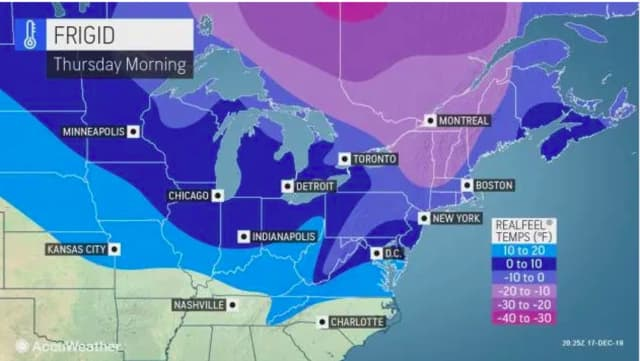 It will be frigid on Thursday, Dec. 19, with the wind-chill factor making it feel like it's between minus 5 degrees and zero degrees.