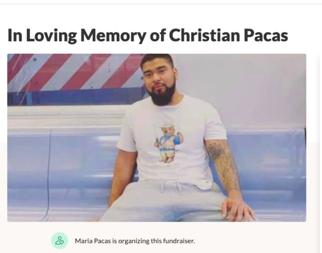 Christian Pacas, 22, was killed last month in Hackensack.