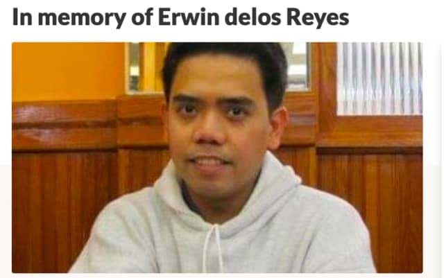 Erwin De Los Reyes passed away on Dec. 30, 2019. He was 44 years old.