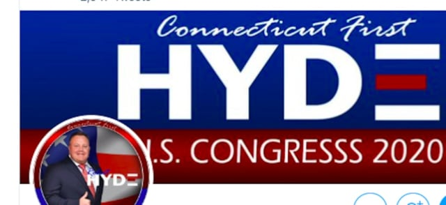 Connecticut congressional candidate Robert Hyde's campaign Twitter account.