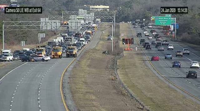 Traffic has been stopped at exit 64 on the Long Island Expressway in Medford.