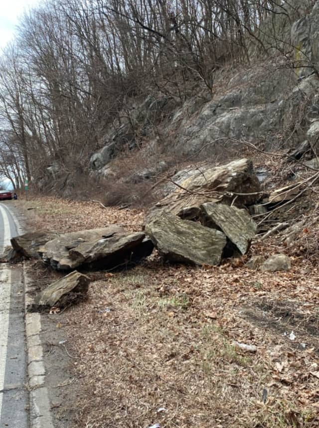A pair of rock slides near the Saw Mill River Parkway tied up traffic in Mount Kisco.