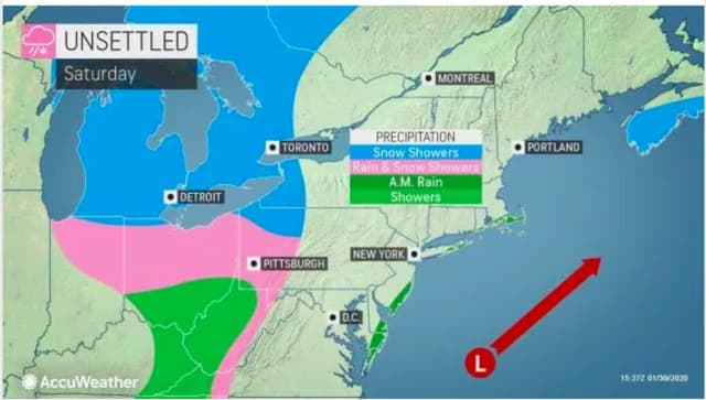 This is the latest projected track for the weekend storm.