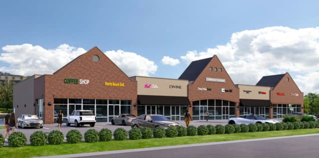The exterior rendering of the strip mall approved for the Oakland Triangle Shopping Center.