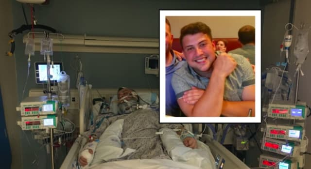 Cody Diorio was hospitalized with severe head trauma after falling down the stairs at a friend's house.