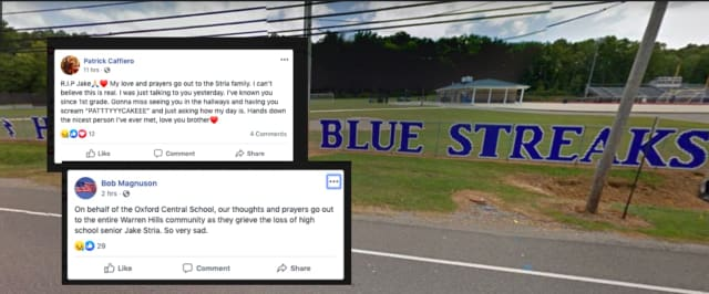 Condolences poured in for Jake Stria, a Warren Hills HS senior who died in a car crash Wednesday.