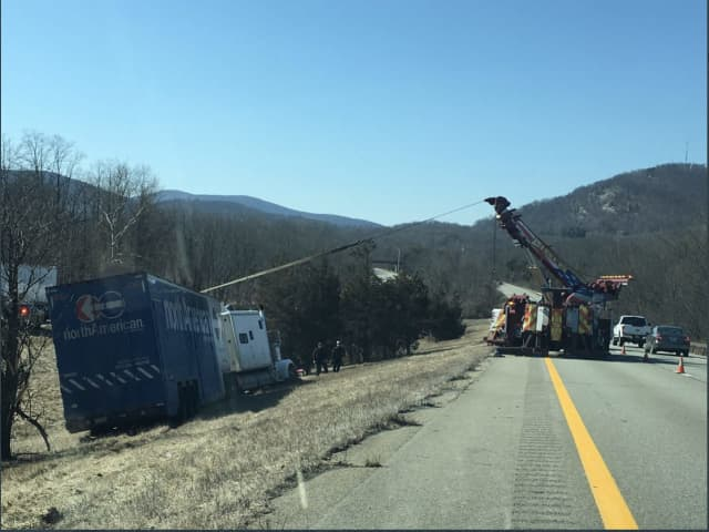 A look at the crash scene on westbound I-84 near Exit 50 (Lime Kiln Road) in East Fishkill.