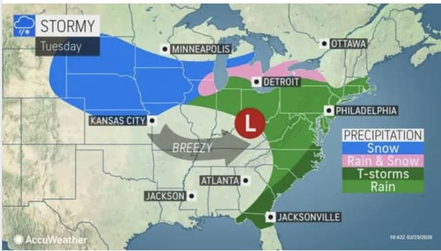 A look at the storm system that will sweep through on Tuesday, Feb. 25.