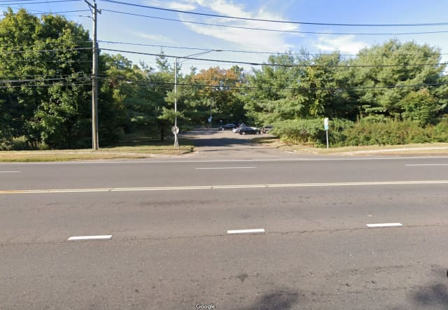 The commuter lot at the intersection of Danbury Road and Wolfpit Road in Wilton.
