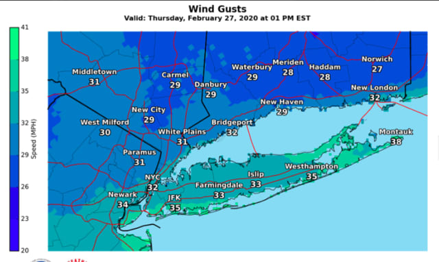 A look at projected wind gusts on Thursday, Feb. 27.