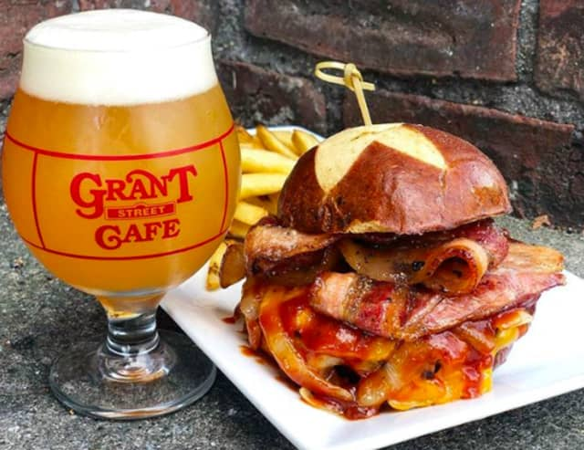 """Grant Street Cafe's Hansel and Grant Street Burger with a Grimm """"City Vision"""" Double IPA."""