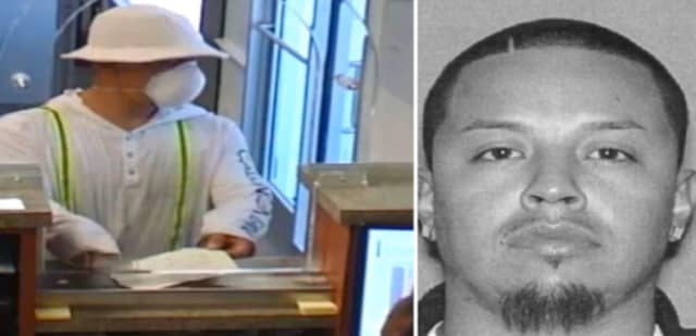 Surveillance video image, left, from a PNC Bank. At right, photo of Luis Estrada, charged by Hamilton police for the robbery.