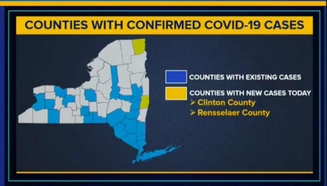 The latest update on counties with COVID-19 cases in New York.