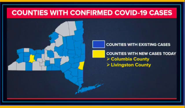 A look at New York counties with existing cases (in blue), including Putnam, which now has 12.