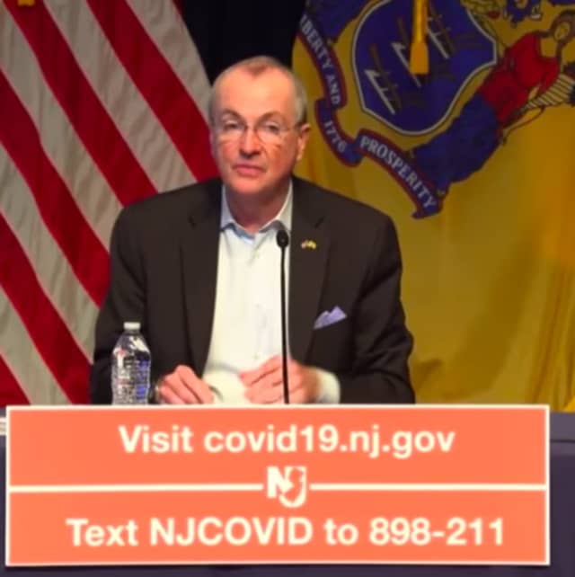 Gov. Phil Murphy during Monday's news briefing.