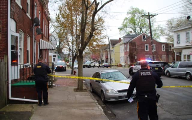 Police at an earlier shooting scene. (Peterson's Breaking News of Trenton)