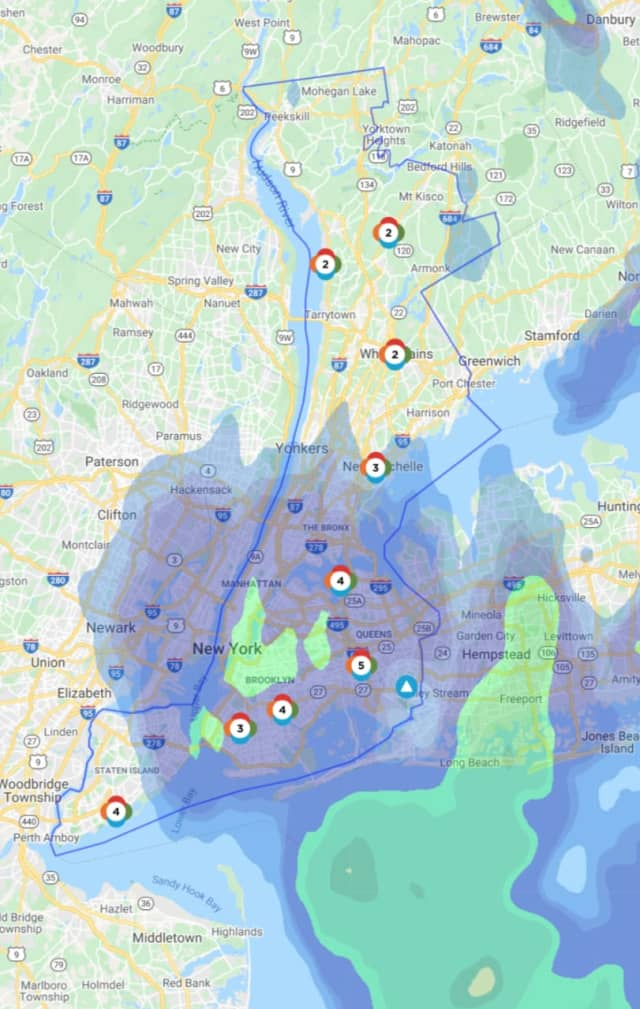The Con Edison Outage Map as of 3:30 p.m. on Thursday, April 9.