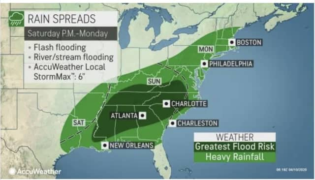 A potent storm system will bring up to 2 inches of rainfall with strong wind gusts that could cause power outages following a breezy and bright Easter weekend.