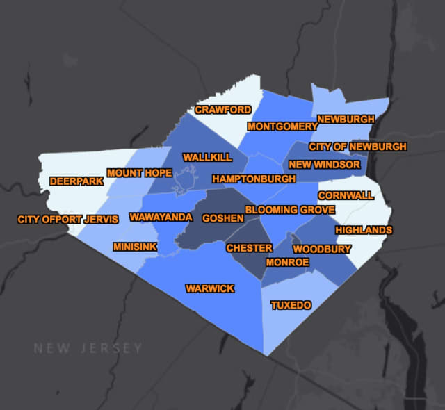 The COVID-19 map of Orange County as of Thursday, April 16.