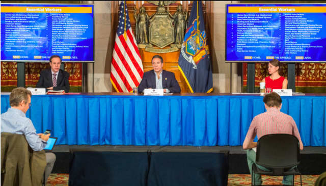 Gov. Andrew Cuomo flanked by state health director Howard Zucker (left) and Cuomo's top aide Melissa DeRosa during a COVID-19 briefing earlier this year.