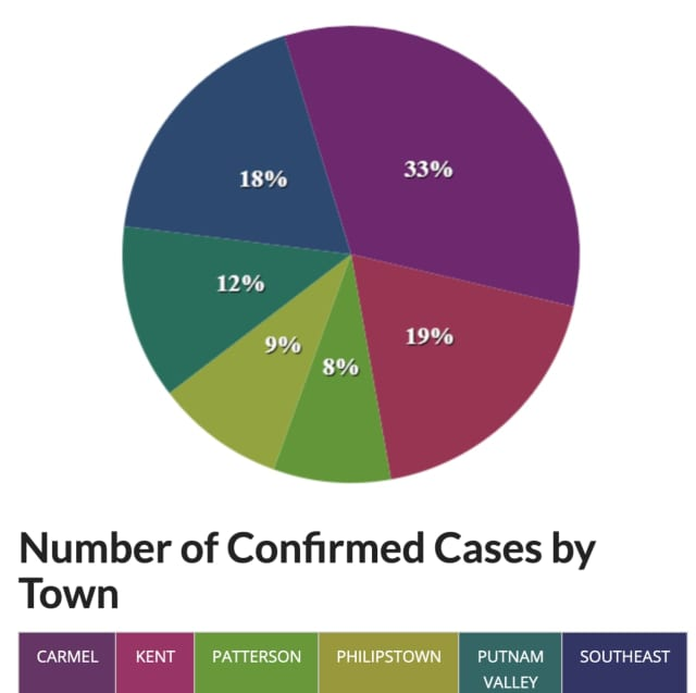 A breakdown of COVID-19 cases in Putnam County by percentage.