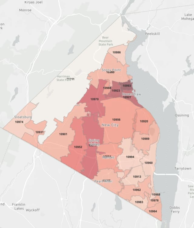The Rockland County COVID-19 map on Friday, May 1 (darker areas represent more cases).
