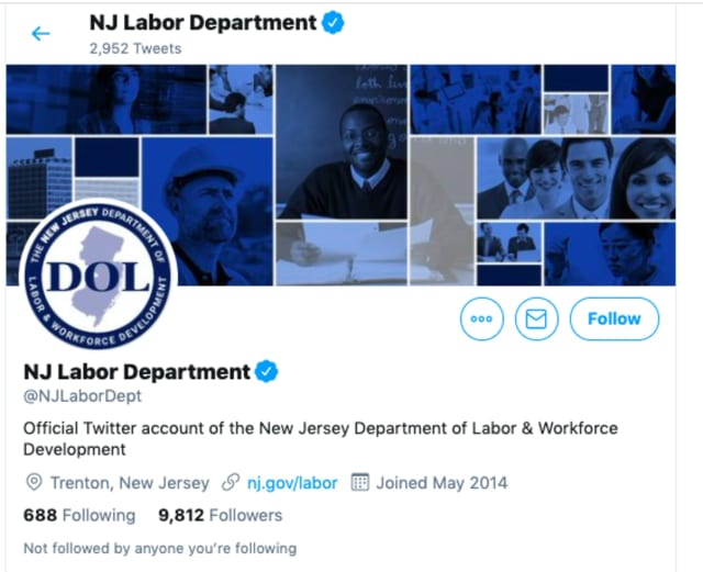 NJ Department of Labor Twitter