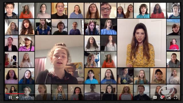 "The Fairfield County Children's Choir sing ""Bridge Over Troubled Water"" in a video seen by thousands on Facebook."