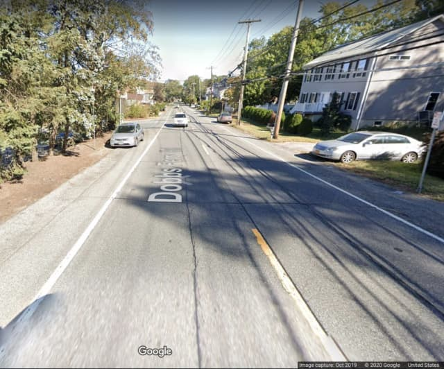 The area of Dobbs Ferry Road (Route 100B) where the crash happened.